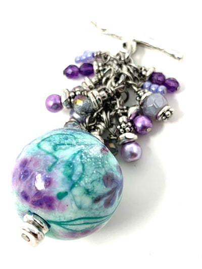 Handmade Lampwork Glass Beaded Dangle Pendant #2561D