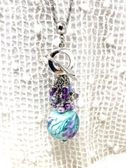 Handmade Lampwork Glass Beaded Dangle Pendant #2561D - Bead Dangle Design