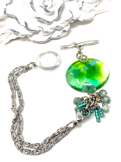 Shimmer Green Interchangeable Dangle Bracelet Pendant #3053BC