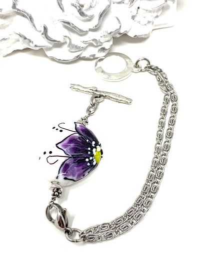 Handmade Lampwork Glass Floral Interchangeable Dangle Bracelet Pendant #3054BC