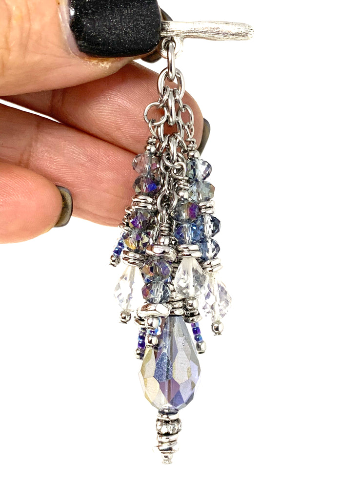 Faceted Crystal and Quartz  Beaded Dangle Pendant #2566D - Bead Dangle Design