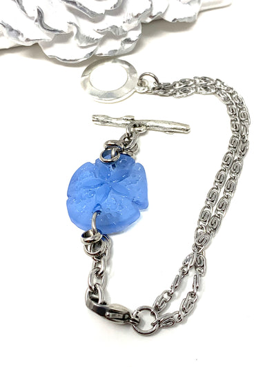 Blue Floral Sea Glass Interchangeable Dangle Bracelet Pendant #3055BC - Bead Dangle Design