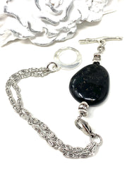 Black Speckle Lampwork Glass Interchangeable Dangle Bracelet Pendant #3056BC - Bead Dangle Design