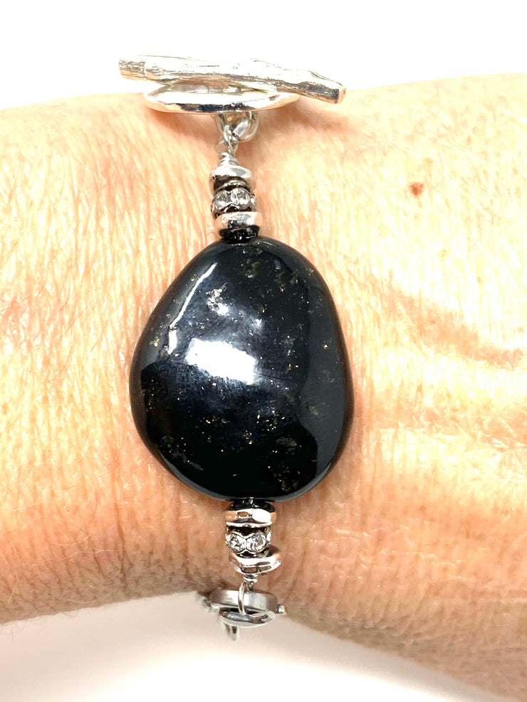 Black Speckle Lampwork Glass Interchangeable Dangle Bracelet Pendant #3056BC