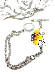 Hand Painted Lampwork Glass Floral Interchangeable Dangle Bracelet Pendant #3057BC - Bead Dangle Design