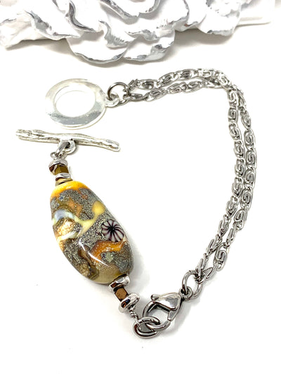 Sandstone Lampwork Glass Interchangeable Dangle Bracelet Pendant #3058BC - Bead Dangle Design