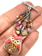 Pastel Pink and Peach Porcelain Owl Beaded Dangle Pendant #2568D - Bead Dangle Design