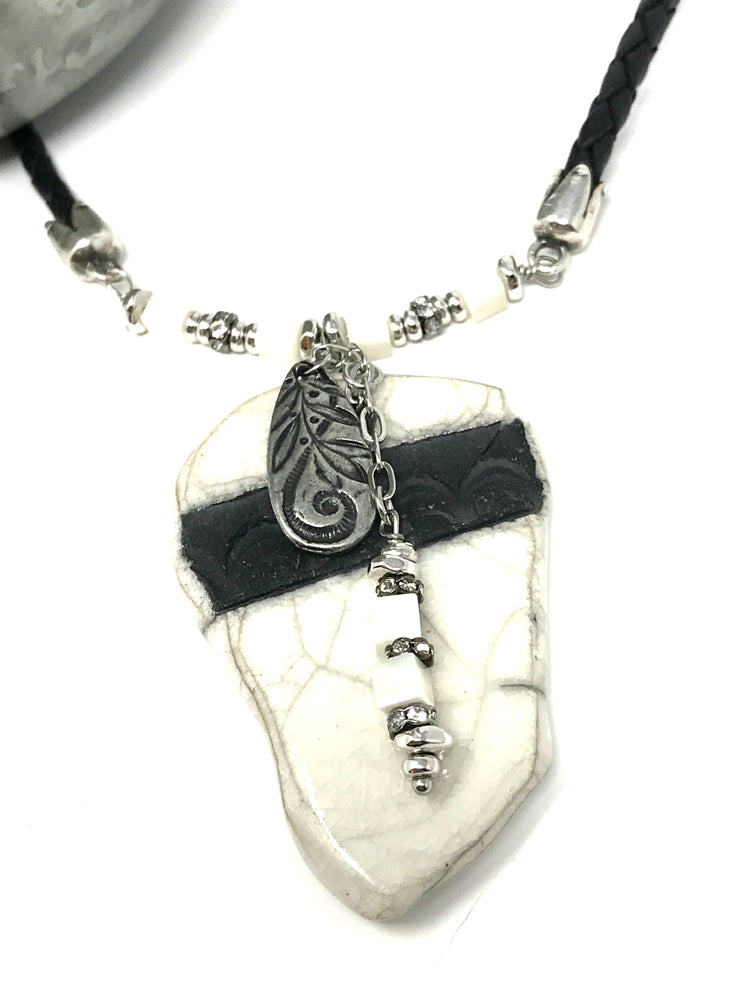 Black and White Ceramic Raku Leather Necklace #402Lthr - Bead Dangle Design