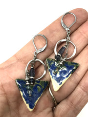 Ceramic Iolite Lever Back Dangle Earrings #884E - Bead Dangle Design