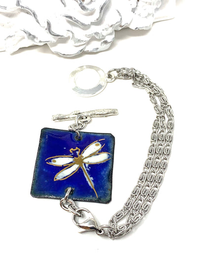 Hand Painted Enamel Dragonfly Interchangeable Dangle Bracelet Pendant #3061BC