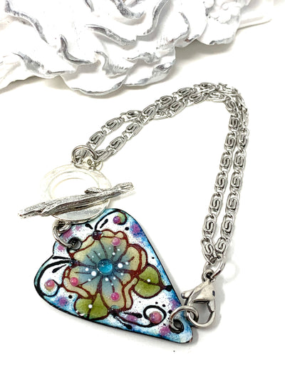 Hand Painted Enamel Interchangeable Dangle Bracelet Pendant #3066BC - Bead Dangle Design