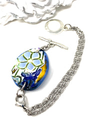 Hand Painted Ceramic Interchangeable Dangle Bracelet Pendant #3068BC - Bead Dangle Design
