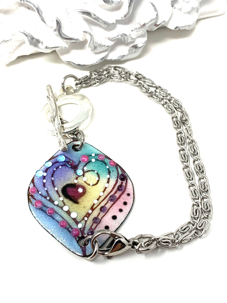 Hand Painted Enamel Heart Interchangeable Dangle Bracelet Pendant #3067BC