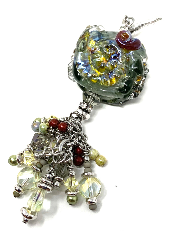 Beautiful Lampwork Glass and Crystal Beaded Dangle Pendant #2574D - Bead Dangle Design