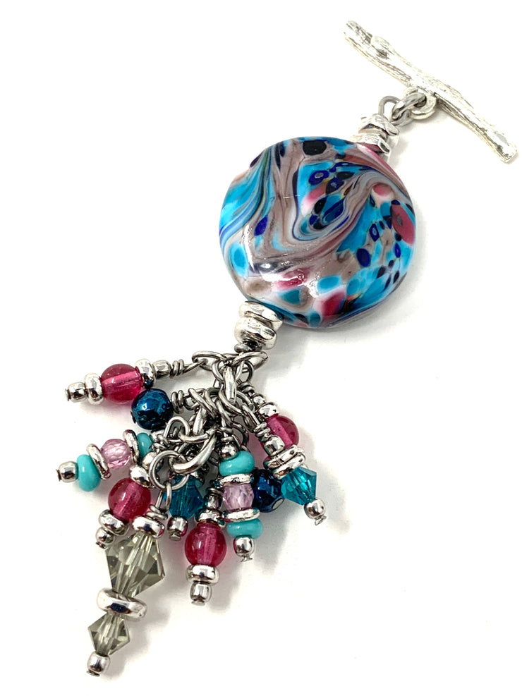 Colorful Swirl Lampwork Glass and Crystal Beaded Dangle Pendant #2578D - Bead Dangle Design