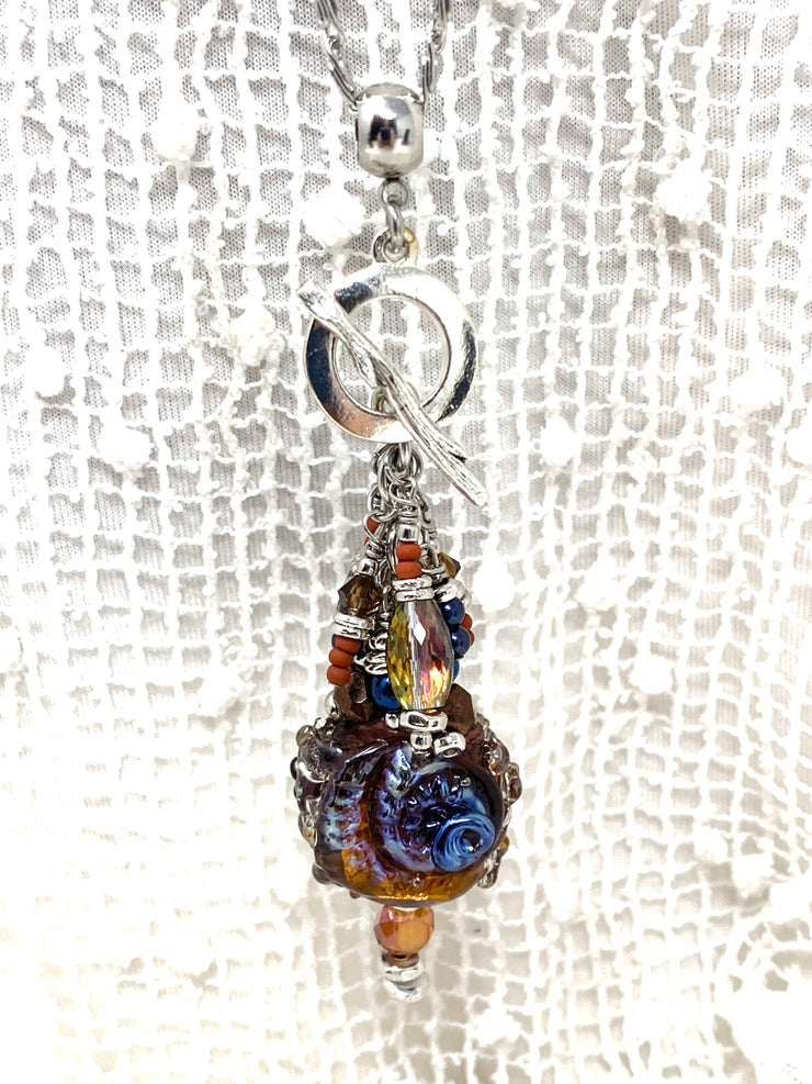 Gorgeous Copper Blue Lampwork Glass and Crystal Beaded Dangle Pendant #2576D - Bead Dangle Design