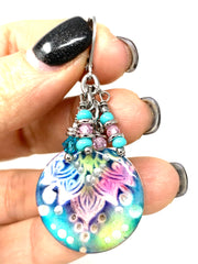 Lightweight Pastel Polymer Clay Beaded Dangle Earrings #1119E - Bead Dangle Design