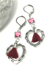 Heart Tassel & Faceted Glass Lever Back Beaded Earrings #887E - Bead Dangle Design