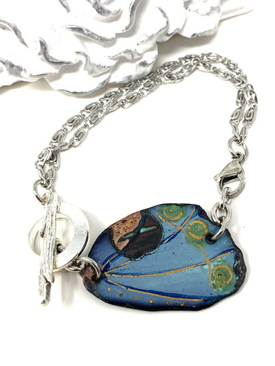 Hand Painted Enamel Interchangeable Dangle Bracelet Pendant #3074BC - Bead Dangle Design