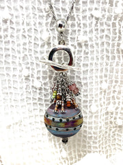 Colorful Lampwork Glass Beaded Dangle Pendant #2581D - Bead Dangle Design