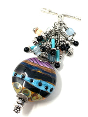 Colorful Lampwork Glass Beaded Dangle Pendant #2582D - Bead Dangle Design