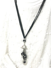 Black Deerskin Leather Adjustable Choker Necklace #119LTHR - Bead Dangle Design