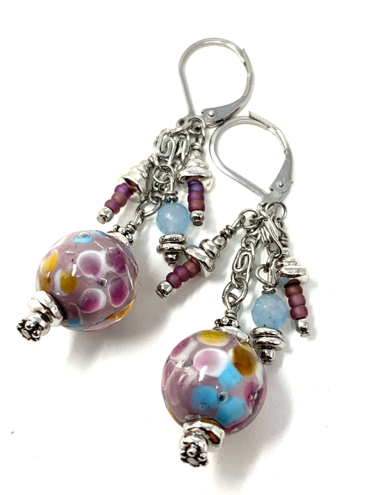 Floral Lampwork Glass Beaded Dangle Earrings #1120E - Bead Dangle Design