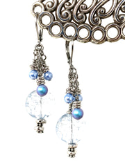 Crystal Blue Textured Czech Glass and Swarovski Pearl Beaded Dangle Earrings #1121E - Bead Dangle Design