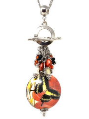 Coral and Yellow Porcelain Butterfly Beaded Dangle Pendant #2585D - Bead Dangle Design