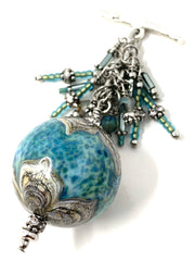 Gorgeous Handmade Lampwork Glass and Seed Beaded Dangle Pendant #2589D - Bead Dangle Design