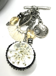 White Dried Flower Orb Beaded Fan Tassel Pendant Necklace #1834D - Bead Dangle Design