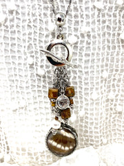 Brown and White Butterfly Wing Beaded Dangle Pendant #2591D - Bead Dangle Design