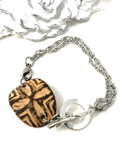 Peach and Brown Polymer Clay Interchangeable Dangle Bracelet Pendant #3078BC - Bead Dangle Design