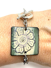 Hand Painted Enamel Floral Interchangeable Dangle Bracelet Pendant #3077BC - Bead Dangle Design