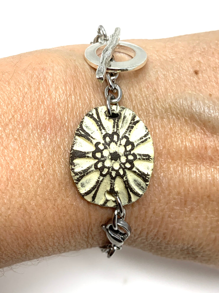 Pale Yellow Floral Polymer Clay Interchangeable Dangle Bracelet Pendant #3079BC - Bead Dangle Design