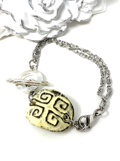 Pale Yellow Polymer Clay Interchangeable Dangle Bracelet Pendant #3082BC - Bead Dangle Design