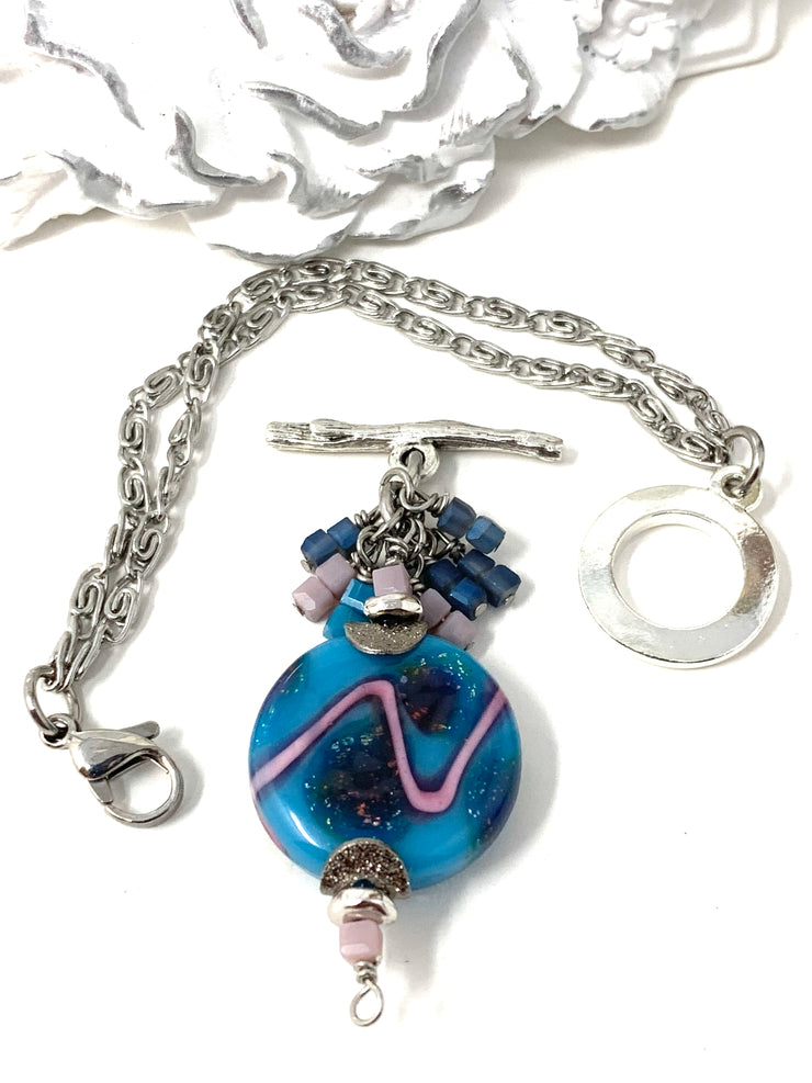 Handmade Lampwork Funky Sparkle Interchangeable Dangle Bracelet Pendant #3083BC