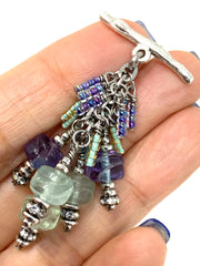 Etched Flourite and Seed Beaded Dangle Pendant #2592D - Bead Dangle Design
