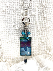 Dragonfly Painted Enamel Beaded Dangle Pendant #2597D - Bead Dangle Design