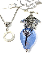 Moon and Tree Lampwork Glass and Crystal Beaded Dangle Pendant #2595D - Bead Dangle Design