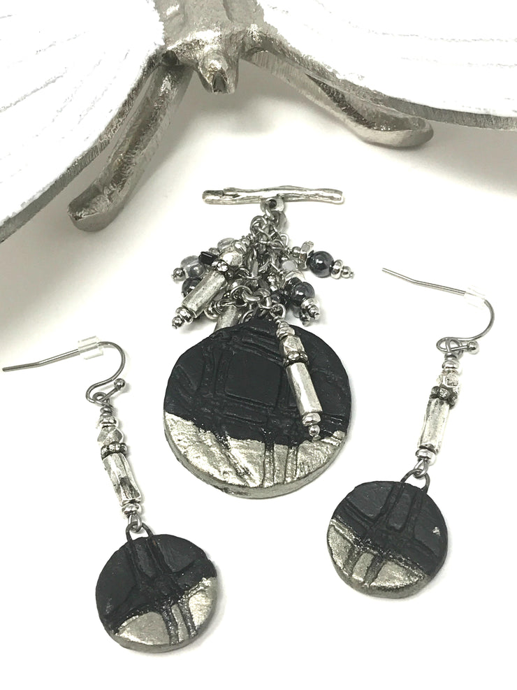 Black and Silver Ceramic Beaded Dangle Earrings #896E - Bead Dangle Design