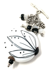 Black and White Floral Painted Lampwork Glass Beaded Dangle Pendant #2596D - Bead Dangle Design