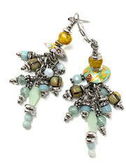 Floral Pastel Bead Cap Beaded Dangle Earrings #1124E - Bead Dangle Design