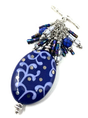Deep Blue Painted Lampwork Glass Beaded Dangle Pendant #2600D - Bead Dangle Design
