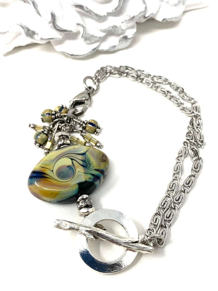 Swirly Lampwork Glass Interchangeable Dangle Bracelet Pendant #3087BC - Bead Dangle Design