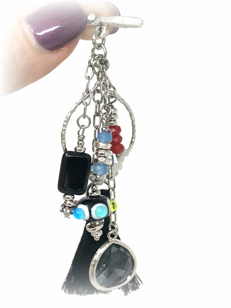 Fun Black Tassel and Lampwork Glass Beaded Pendant Necklace #1851D - Bead Dangle Design