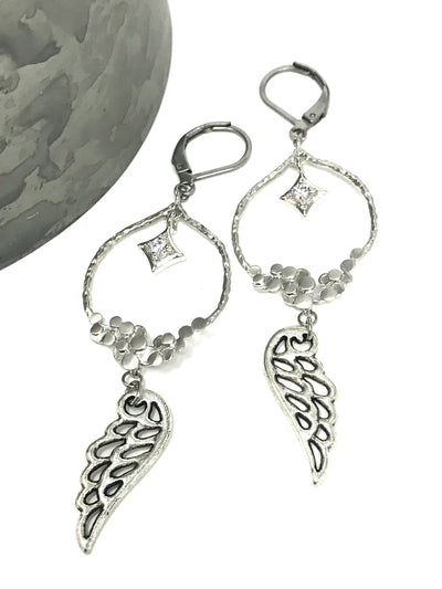 Crystal Angel Wing Beaded Dangle Earrings #899E - Bead Dangle Design
