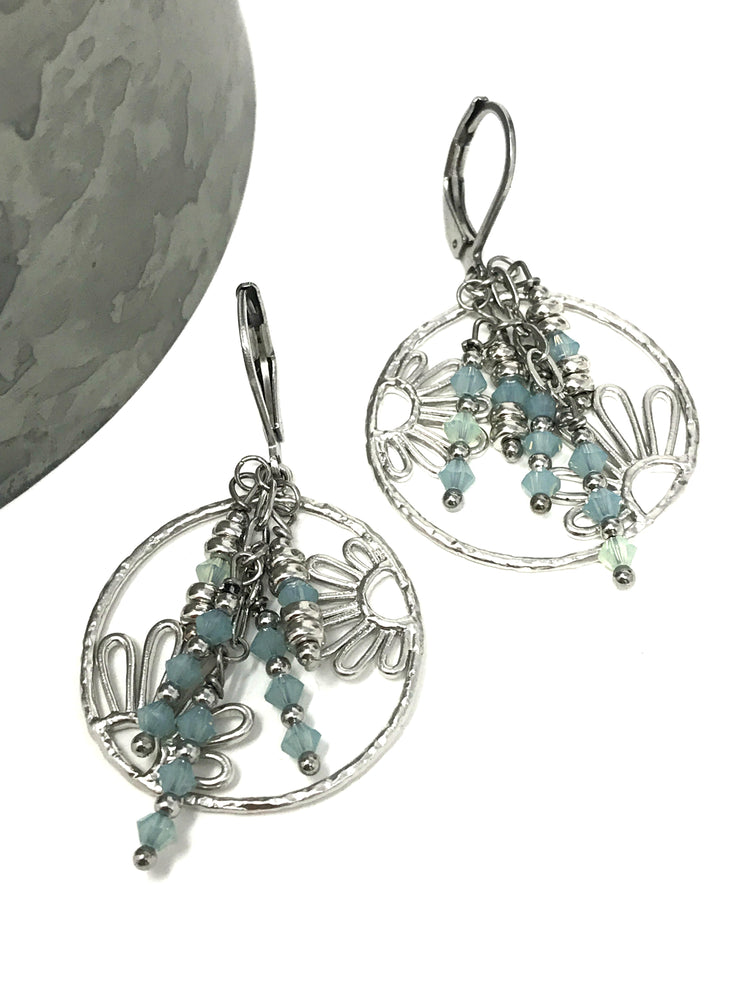 Daisy Swarovski Crystal Beaded Dangle Earrings #902E - Bead Dangle Design
