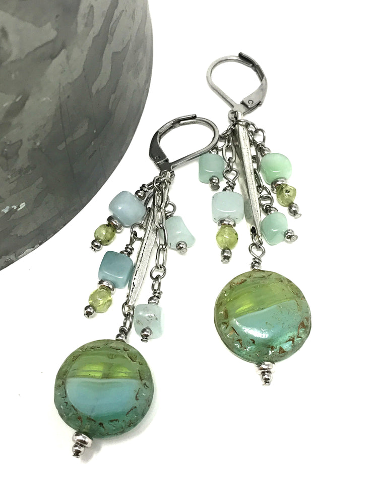 Czech Glass and Amazonite Dangle Beaded Earrings #906E - Bead Dangle Design
