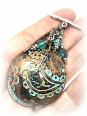 Paisley Patina Copper Beaded Dangle Pendant #1871D - Bead Dangle Design